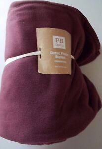 Pottery Barn Teen Classic Fleece Blanket Throw Twin Vineyard Wine Burgundy #127