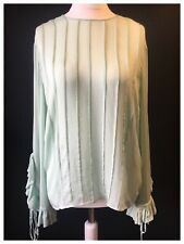 MISS SIXTY Women's UK 12 M Boho Smock Tunic Pleat Blouse Shirt Top Mint Green