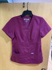 Womens Grey's Anatomy Maroon Scrub Top Size S
