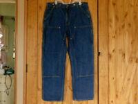Carhartt Double Knee Dungaree Jeans Mens 38x32 Blue Dark Wash Straight Denim