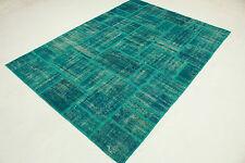 Moderne Patchwork turquoise chic 300x220 Super noué à la main T7275