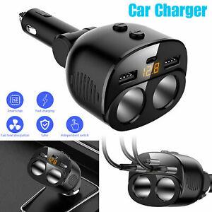 2 Way Car  Lighter Socket Splitter 3 USB LED PD Charger Power Adapter