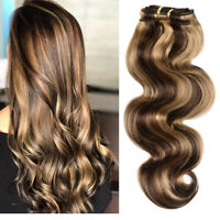 Thick100% Remy Brazilian Clip In Human Hair Extensions Body Wave 10 Pieces 160G