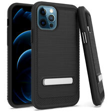 "For iPhone 12 / 12 Pro 6.1""- Hard Hybrid Brushed Armor Kickstand Skin Case Cover"