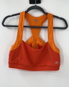 Alo Yoga Sports Bra Large Low Support Cross Back Neon Orange