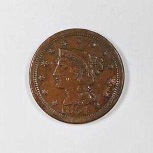 1854 US Large Cent Braided Hair 190262B