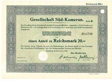 Gesellschaft Süd-Kamerun  Hamburg 1936   20RM