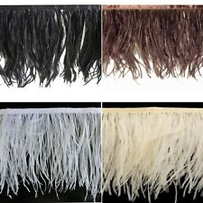 1 Metre - Ostrich Feather Fringe Trimming on Satin Ribbon - 7cm - 9cm