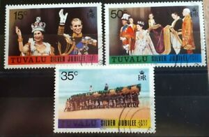 1977 Tuvalu Full Set Of 3 Stamps - Silver Jubilee - PC/LH