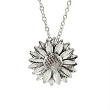 Sunflower Pendant Necklace 18 Inch Silver Plated Chain
