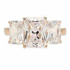 4ct Three Stone Emerald Cut Engagement Wedding Promise Ring 14k Yellow Gold