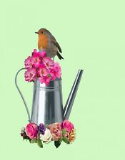 METAL FRIDGE MAGNET Robin On Water Can Bird Flowers Pink Purple Gold White