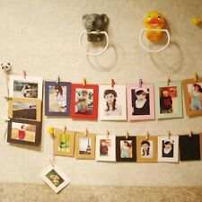 10PC Paper Photo Frame Picture Hanging Album Frame Gallery Hemp Rope Clip Decor