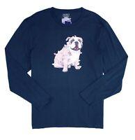 Club Room Mens T-Shirt Blue Size Medium M Xmas Bulldog Long Sleeve Tee $30 069
