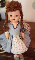 """Vintage 1950's hard plastic doll 18"""" all original"""