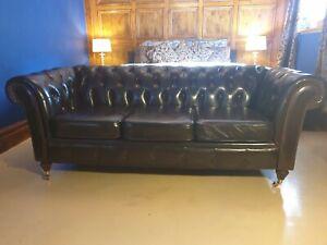 Refurbished post Georgian Cigar Brown chesterfield 3 seater sofa. No Reserve.