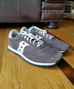 """Saucony """"Jazz"""" Mens Low Pro Chocolate Brown Suede & Nylon Sneakers Shoes Size 13"""