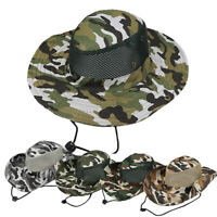HO_ Unisex SUN Camo Bucket Boonie Hat Hunting Fishing Outdoor Cap Wide Brim Mili