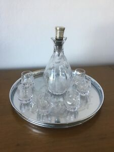 Vintage Crystal Wine Decanter Set - 6 Crystal glasses & Silver Cocktail Tray