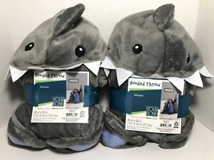 SHARK HOODED THROW Your Zone Gray Blanket 40X50 Inches With Hands NEW NWT