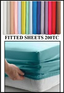 """EURO KING SIZE (63""""x 78"""" x 15"""") 160cm x 200cm FITTED Sheet (Over 20 Colours)"""