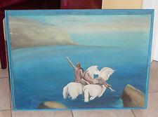Öl / Lwd. Fantasy - Nacktes Paar auf weißen Pferden im ufernahen Meerwasser