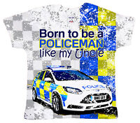 "DF Baby T-Shirt All Over Print ""Born to be a Policeman like my Uncle"" Police Car"