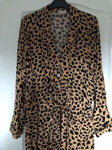 Miss Selfridge Tan And Black Leopard Print Jumpsuit/Boiler Suit Uk 12