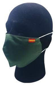 Mascarilla de Tela con Abertura para Filtros Bandera España Verde Militar