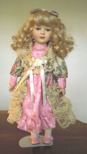 """1980's Vintage 17"""" Collectible Porcelain Doll w/Stand"""