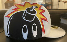 New Era Fitted Hat Cap The Hundreds White Adam Bomb Side Logo Size 7 1/2