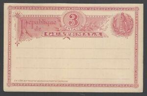 Guatemala 1890 3c red BIRD postal card unused HG #4