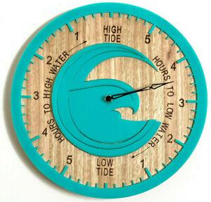 Tide Clock Australian Made Tasmanian Oak Wood Sea Green, High Wave Art Design