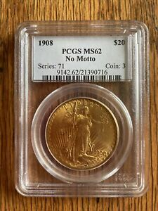 1908  U.S. ST GAUDENS $20 GOLD COIN PCGS MS62 NO MOTTO