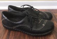 Women's Clarks Bendable Black Leather Stitch Casual Lace Up Tennis US 6 M Shoes