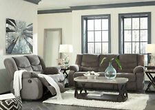 Modern Living Family Room Couch Set - Gray Fabric Reclining Sofa Loveseat IF1O