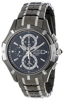 Seiko SNAE57 Men's Chronograph Black Dial Two-Tone Black Stainless Steel Watch