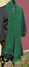 Handmade NEW Mans Green Scarf 88x6 Inch Long Oversize Chunky Crochet Womans USA