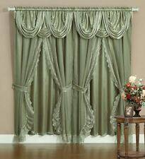 Sheer & Lace Victorian Window Curtain Set w/ Satin Valance & Backing Panel SAGE