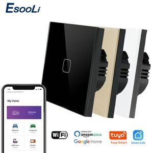 EsooLi Tuya Smart Life Glass PanelEU/UK Standard Touch Switch Zero/Single Fire