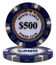 50 Purple $500 Monte Carlo 14g Clay Poker Chips New - Buy 2, Get 1 Free
