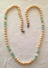 "Vintage Les Bernard Pearl, Jade, Clear Bead  Necklace 29"""