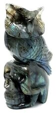 Labradorite Gemstone Skull & Wise Owl Statue Carving Labradorescence 265gm Gift