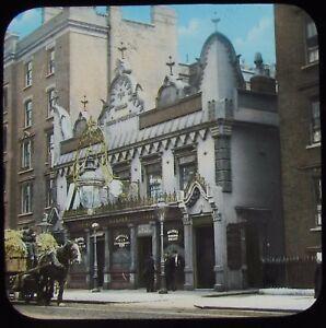 Glass Magic Lantern Slide THE WORLD TURNED UPSIDE DOWN PUB LONDON C1910 PHOTO