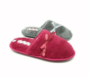 NEW WOMENS LADIES LOW WEDGE BOW SLIP ON MULE COMFORTABLE WARM SLIPPERS  HOUSE