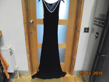 Wallis Black Sleeveless Vest Style Maxi Dress with White Trim Size 10