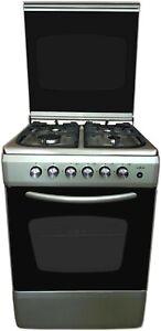 Cucina con forno A GAS silver/inox 60x60 4F metano o GPL grill e acc. elettrica