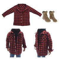 1/6 Scale Herren Hemd Shirt Kleidung mit Stiefel für 12 Zoll Action Figuren