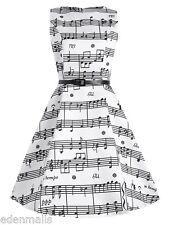 elegante da donna abito vintage NUOVO Musica motivo anni 50 '60 XL XXL 3XL 4XL