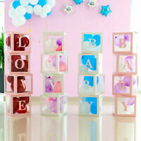 Letter BABY/LOVE Cube Transparent Gift Box Kid Birthday Baby Shower Party Decor